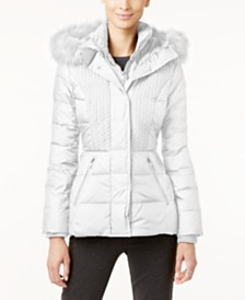 Jones New York Faux-Fur-Trim Hooded Quilted Puffer Coat