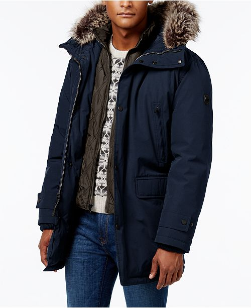 Mens Blue Fur Parka