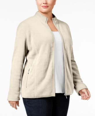 Karen Scott Plus Size Zeroproof Fleece Jacket, Only at Macy's