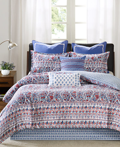 CLOSEOUT! Echo Woodstock Floral Paisley-Print King Reversible Duvet Set
