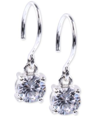 Image of Anne Klein Silver-Tone Crystal Drop Earrings
