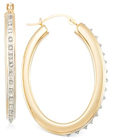 Hoop Earrings in 14k Gold over Resin Core Diamond and Crystallized Diamond Dust
