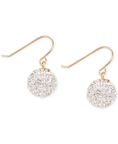 Crystal Pavé Disc Drop Earrings in 10k Gold