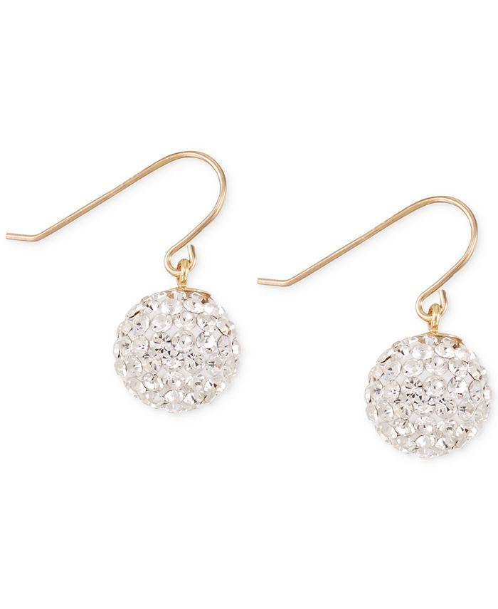 Macy's - Crystal Pavé Ball Drop Earrings in 10k Gold