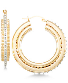 Signature Diamonds™ Three-Dimensional Hoop Earrings in 14k Gold over Resin Core Diamond and Crystallized Diamond Dust