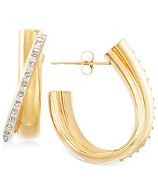 Signature Diamonds™ Diagonal J-Hoop Earrings in 14k Gold over Resin Core Diamond and Crystallized Diamond Dust