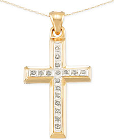 Signature Diamonds™ Cross Pendant Necklace in 14k Gold over Resin Core Diamond and Crystallized Diamond Dust