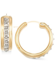 Signature Diamonds™ Wide Hoop Earrings in 14k Gold over Resin Core Diamond and Crystallized Diamond Dust
