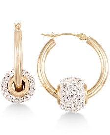 Crystal Fireball Hoop Earrings in 10k Gold