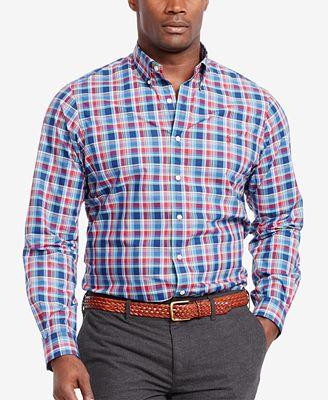Polo ralph lauren men 39 s big tall plaid poplin shirt for Polo ralph lauren casual button down shirts