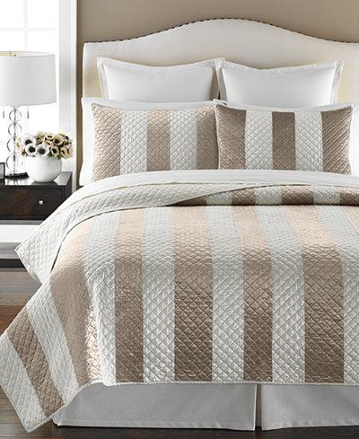 CLOSEOUT! Martha Stewart Collection Siena Stripe Quilt and Sham ... : beige quilts - Adamdwight.com