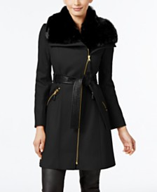 Via Spiga Faux-Fur-Collar Asymmetrical Belted Coat