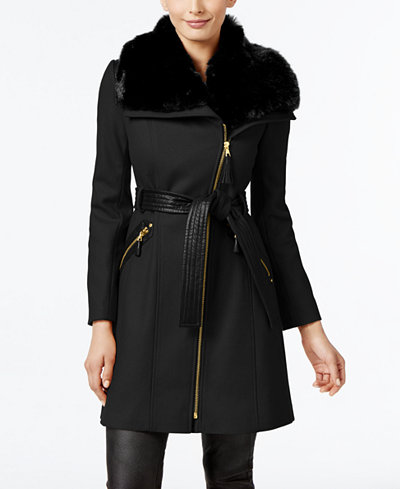 Via Spiga Faux-Fur-Collar Asymmetrical Coat