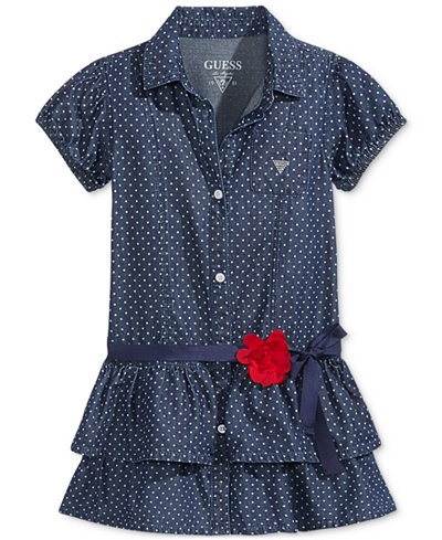 GUESS' Polka-Dot Drop-Waist Denim Dress, Little Girls (2-6X)