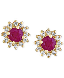 Amoré by EFFY® Certified Ruby (5/8 ct. t.w.) and Diamond (1/4 ct. t.w.) Floral Stud Earrings in 14k Gold, Created for Macy's