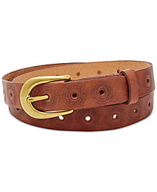 Fossil Floral Perforated Embossed Leather Belt