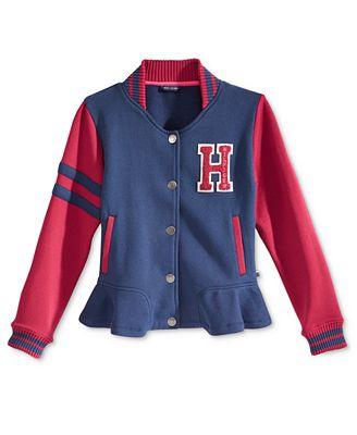 tommy hilfiger girls 39 fleece varsity jacket coats jackets kids baby macy 39 s. Black Bedroom Furniture Sets. Home Design Ideas