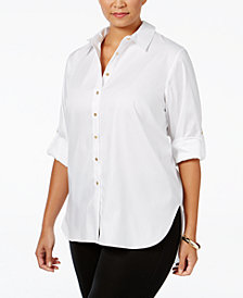 Calvin Klein Plus Size High-Low Button-Front Shirt