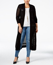 Plus Size Pointelle-Stitch Duster Cardigan