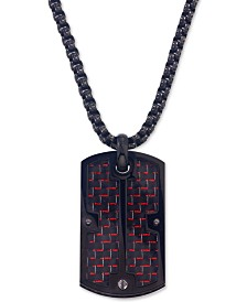 Esquire Men's Jewelry Dog Tag Pendant Necklace in  Red Carbon Fiber and Black IP Stainless Steel, Created for Macy's