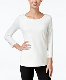Charter Club Three-Quarter-Sleeve Top, Created for Macy's