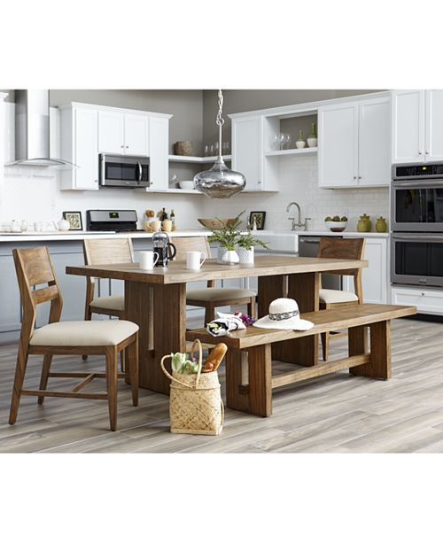 Furniture CLOSEOUT! Athena 6-Pc. Dining Set (Dining Trestle Table, 4 Side Chairs & Bench)