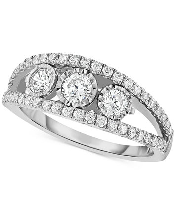 Image 1 Of TruMiracleR Diamond Three Stone Anniversary Band Ct Tw