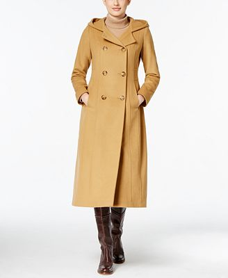 Anne Klein Hooded Wool-Blend Double-Breasted Maxi Coat