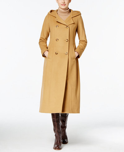 Anne Klein Hooded Wool-Cashmere Double-Breasted Maxi Coat - Coats ...