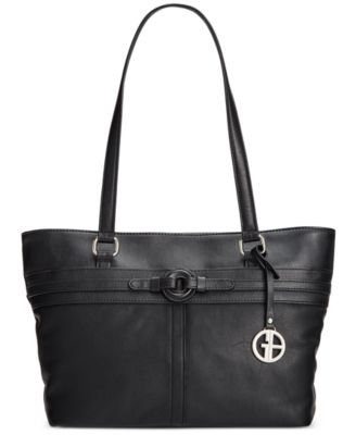 Giani Bernini Covered Ring Nappa Leather Tote, Only at Macy\u0026#39;s
