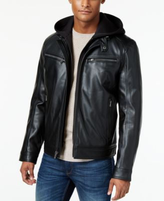 Finders Michael Kors Mens Faux Leather Hooded Bomber Jacket