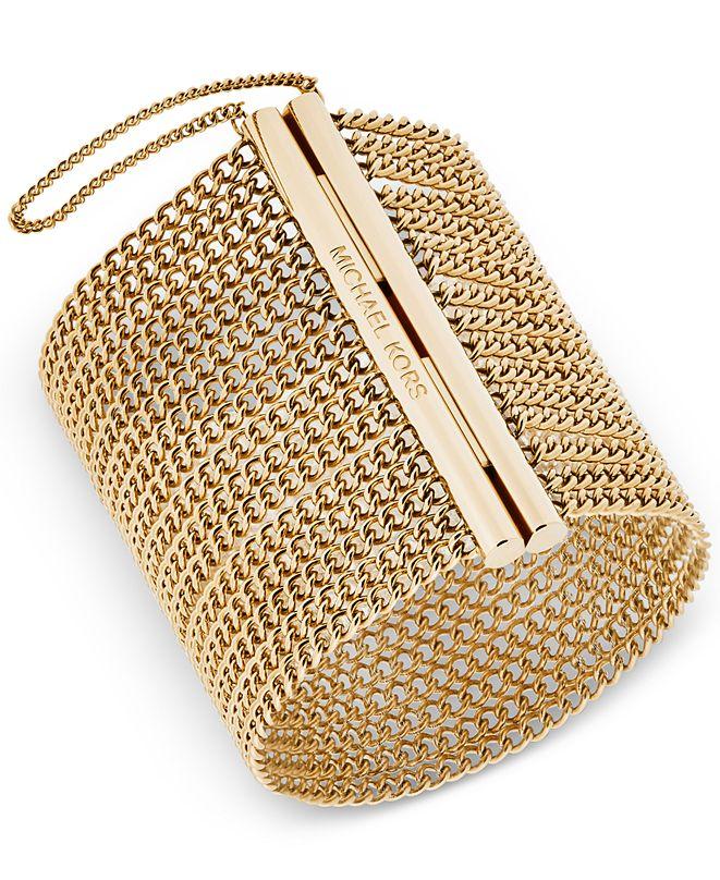 Michael Kors Gold-Tone Wide Chain Magnetic-Close Bracelet ...