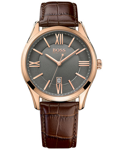 BOSS Hugo Boss Men's Ambassador Dark Brown Leather Strap Watch 43mm 1513387