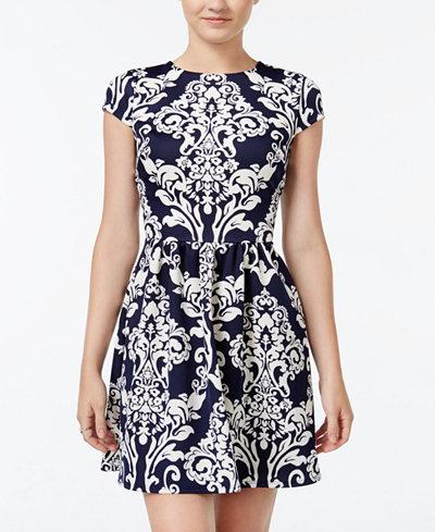 B Darlin Juniors' Printed Scuba Fit & Flare Dress