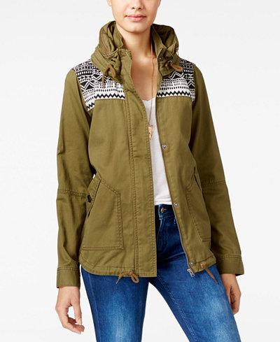 Roxy Juniors' Winter Cloud Hooded Military Jacket - Juniors ...