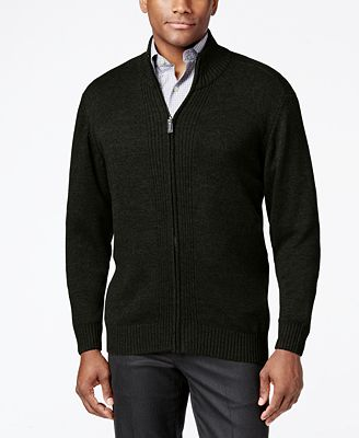 Tricots St. Raphael Men's Full-Zip Mock-Collar Cardigan