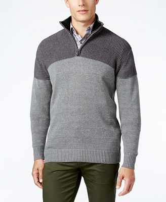 Tricots St. Raphael Men's Texture Colorblocked Quarter-Zip Sweater