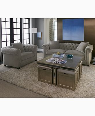 furniture closeout! ailey cube coffee table with 4 storage ottomans Cube Coffee Table