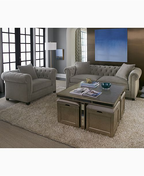 Furniture Closeout Ailey Cube Coffee Table With 4 Storage Ottomans Created For Macy S