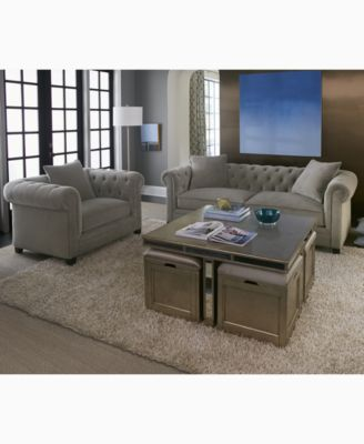 Furniture CLOSEOUT! Ailey Cube Coffee Table with 4 Storage Ottomans Created for Macyu0027s - Furniture - Macyu0027s  sc 1 st  Macyu0027s & Furniture CLOSEOUT! Ailey Cube Coffee Table with 4 Storage Ottomans ...