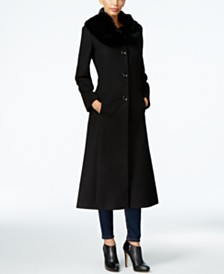 Forecaster Rex Rabbit-Fur-Trim Maxi Walker Coat