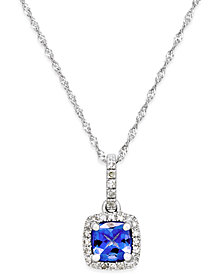 Tanzanite (5/8 ct. t.w.) and Diamond (1/8 ct. t.w.) Pendant Necklace in 14k White Gold