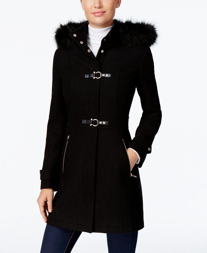 Ivanka Trump - Faux-Fur-Trim Buckled Walker Coat