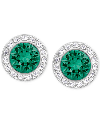 Swarovski Silver-Tone Green Crystal Halo Stud Earrings