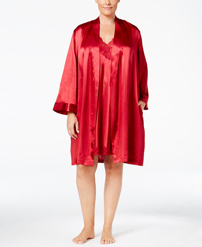 Thalia Sodi Plus Size Satin Wrap Robe and Lace-Trimmed V-Back Chemise Separates, Created for Macy's
