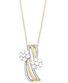 Wrapped In Love Diamond Cluster Pendant Necklace (3/4 ct. t.w.) in 14k Gold, Created for Macy's