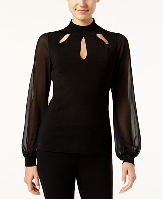 I.N.C. Illusion-Sleeve Cutout Top, Created for Macy's