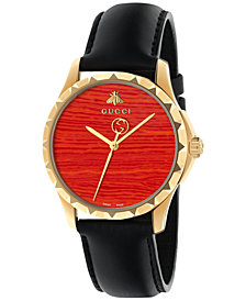 Gucci Women's Swiss Le Marché Des Merveilles   Black Leather Strap Watch 38mm YA126464
