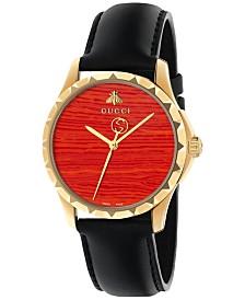 Gucci Women's Swiss Le Marché Des Merveilles   Black Leather Strap Watch 38mm YA126464