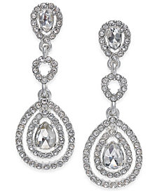 Charter Club Gold-Tone Crystal and Pavé Orbital Drop Earrings, Created for Macy's